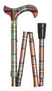 Folding Fashion Walking Stick - Multi Tartan
